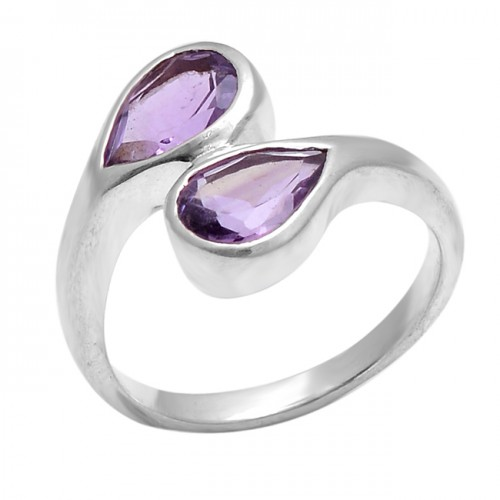 Faceted Pear Shape Amethyst Gemstone 925 Sterling Silver Jewelry Ring