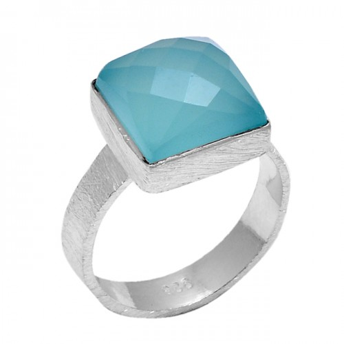 Square Shape Aqua Chalcedony Gemstone 925 Sterling Silver Jewelry Ring