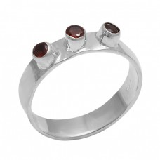 Round Shape Garnet Gemstone 925 Sterling Silver Jewelry Designer Ring