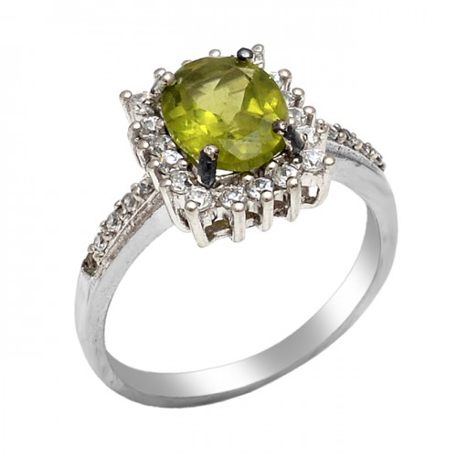 Cocktail Designer Peridot Cubic Zirconia Gemstone 925 Sterling Silver Jewelry Ring