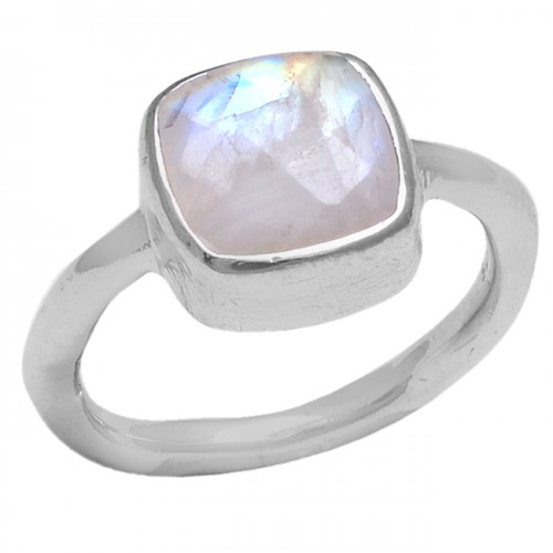 Square Shape Rainbow Moonstone 925 Sterling Silver Jewelry Handmade Ring