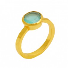 Faceted Round Shape Aqua Color Chalcedony Gemstone 925 Sterling Silver Gold Plated Ring Jewelry