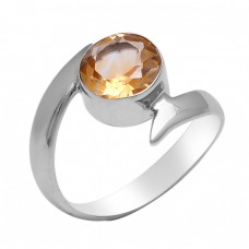 Faceted Round Shape Citrine Gemstone 925 Sterling Silver Jewelry Ring