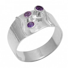 Faceted Round Shape Amethyst Gemstone 925 Sterling Silver Jewelry Ring