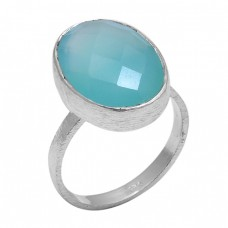 Oval Shape Aqua Chalcedony Gemstone 925 Sterling Silver Jewelry Handmade Ring