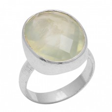 Faceted Oval Shape Prehnite Gemstone 925 Sterling Silver Jewelry Ring