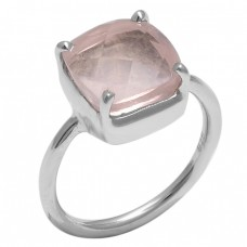 Square Shape Rose Chalcedony Gemstone 925 Sterling Silver Jewelry Ring