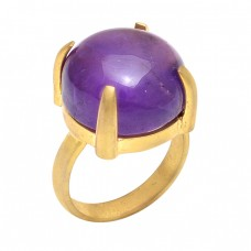 Round Cabochon Amethyst Gemstone 925 Sterling Silver Jewelry Gold Plated Ring