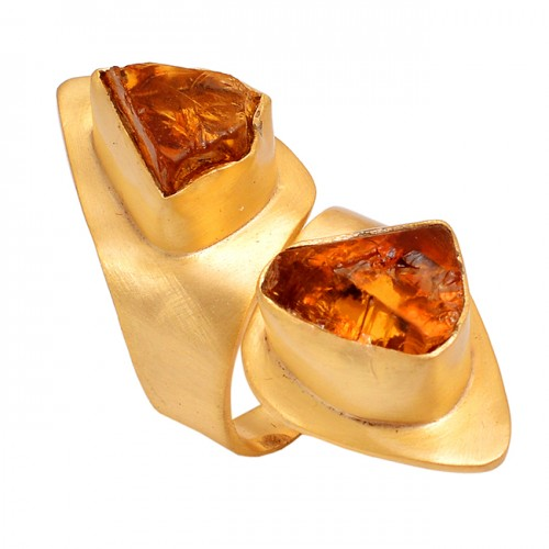 Raw Material Citrine Rough Gemstone 925 Silver Jewelry Gold Plated Ring