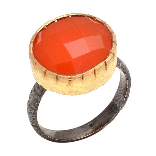 Round Shape Carnelian Gemstone 925 Sterling Silver Jewelry Designer Ring
