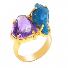 Amethyst Apatite Gemstone 925 Sterling Silver Jewelry Gold Plated Ring