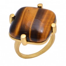 Suare Shape Tiger Eye Gemstone 925 Sterling Silver Jewelry Gold Plated Ring