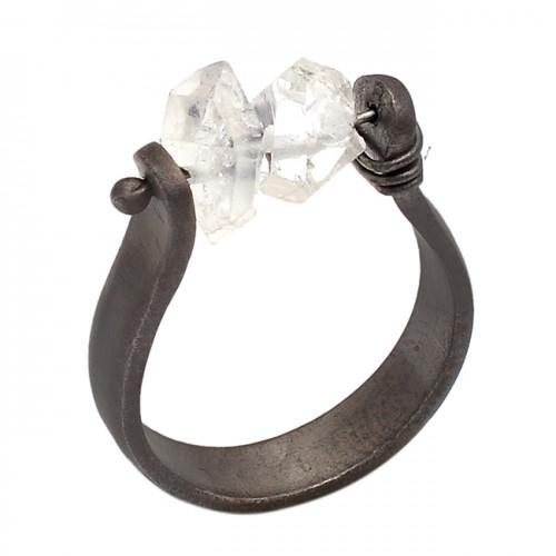 Herkimer Diamond Gemstone 925 Sterling Silver Jewelry Black Rhodium Ring