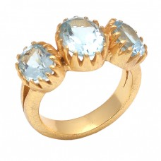 Oval Shape Blue Topaz Gemstone 925 Sterling Silver Jewelry Gold Plated Ring
