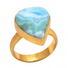 Fancy Shape Larimar Gemstone 925 Sterling Silver Jewelry Gold Plated Ring