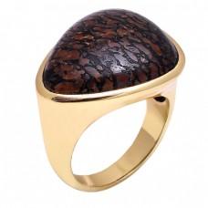Dinosaur Boon Jasper Gemstone 925 Sterling Silver Jewelry Gold Plated Ring