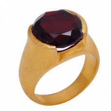 Faceted Round Shape Garnet Gemstone 925 sterling Silver Gold Plated Ring Jewelry