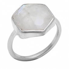 Hexagon Shape Rainbow Moonstone 925 Sterling Silver Jewelry Handmade Ring