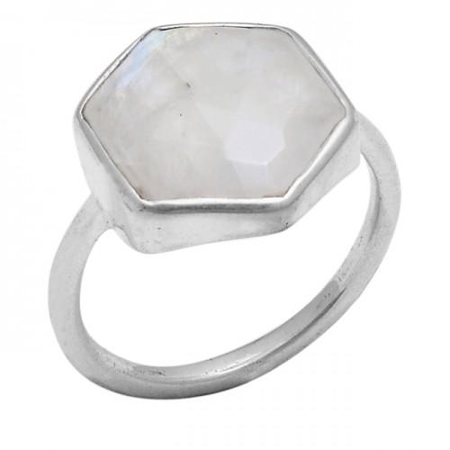 Hexagon Shape Rainbow Moonstone 925 Sterling Silver Jewelry Handmade Ring