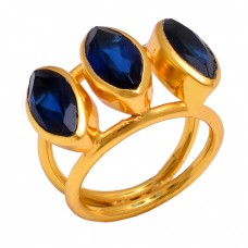 Marquise Shape Iolite Gemstone 925 Sterling Silver Jewelry Gold Plated Ring