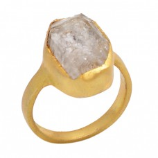 Herkimer Diamond Rough Gemstone 925 Sterling Silver Jewelry Gold Plated Ring