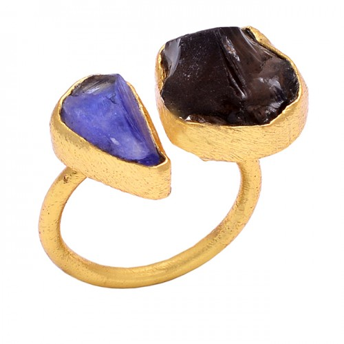Raw Material Rough Gemstone 925 Sterling Silver Jewelry Gold Plated Handmade Ring