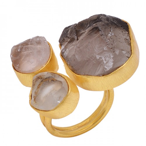 Smoky Quartz Rough Gemstone 925 Sterling Silver Jewelry Gold Plated Ring
