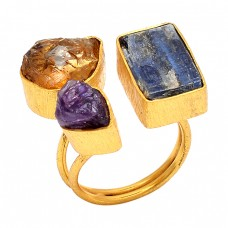 925 Sterling Silver Jewelry Raw Material Rough Gemstone Gold Plated Ring