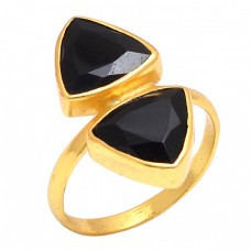 Triangle Shape Black Onyx Gemstone 925 Sterling Silver Jewelry Gold Plated Ring