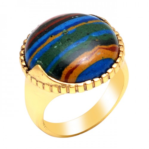 Round Shape Rainbow Calsilica Gemstone 925 Sterling Silver Gold Plated Ring