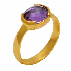 Briolette Oval Amethyst Gemstone 925 Sterling Silver Gold Plated Jewelry Ring