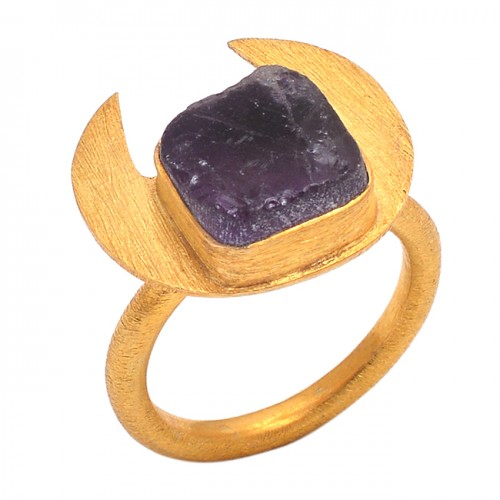 Amethyst Rough Gemstone 925 Sterling Silver Jewelry Gold Plated Bezel Set Ring