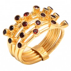 Round Shape Garnet Gemstone 925 Sterling Silver Jewelry Gold Plated Ring