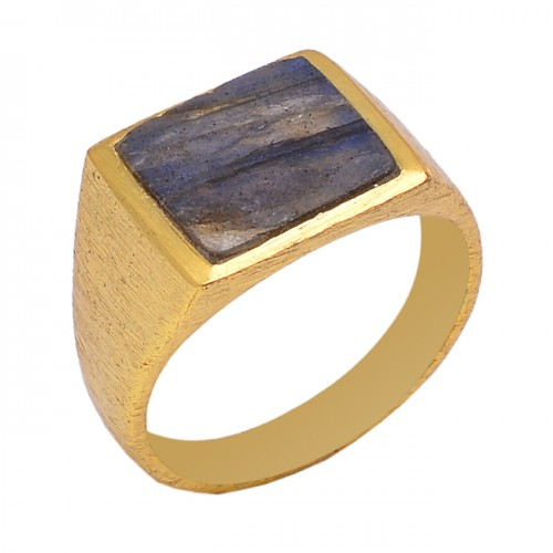 Square Shape Labradorite Gemstone 925 Sterling Silver Jewelry Gold Plated Ring