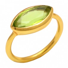 Marquise Peridot Gemstone Gold Plated 925 Sterling Silver Jewelry Ring
