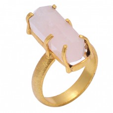 Rectangle Shape Rose Chalcedony Gemstone 925 Silver Gold Plated Ring Jewelry