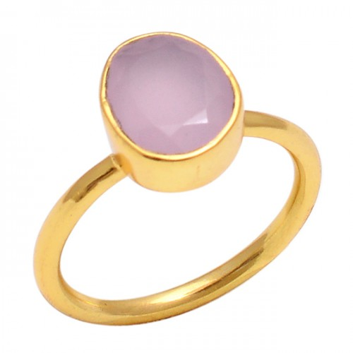 Oval Shape Rose Chalcedony Gemstone 925 Sterling Silver Jewelry Gold Plated Ring
