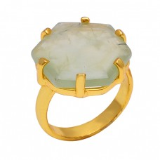 Prehnite Gemstone 925 Sterling Silver Jewelry Gold Plated Handmade Ring