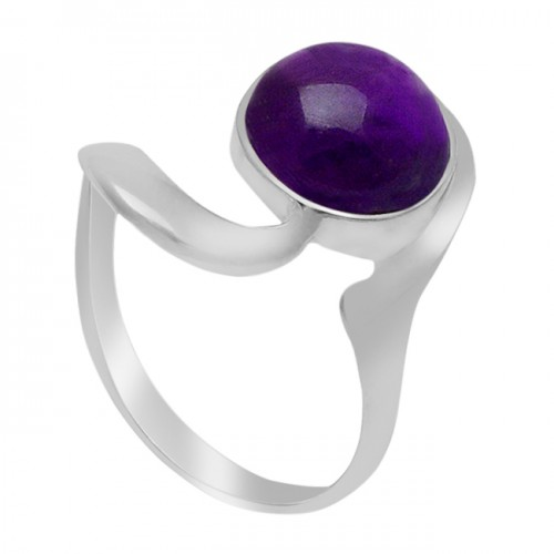 Cabochon Round Amethyst Gemstone 925 Sterling Silver Handcrafted Designer Ring Jewelry