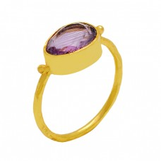 925 Sterling Silver Amethyst Oval Shape Gemstone Gold Plated Handmade Ring