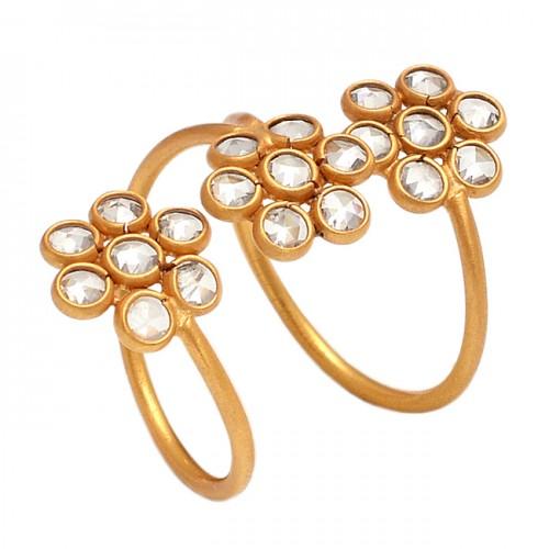 925 Sterling Silver Crystal Quartz Flat Round Gemstone Gold Plated Handamde Ring