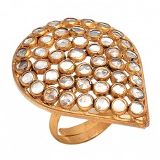 925 Sterling Silver Gold Plated Handmade Designer Gemstone Ring Jewelry