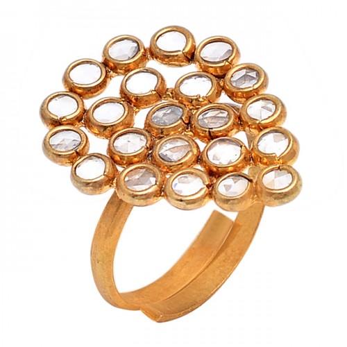 Crystal Quartz Round Shape Gemstone 925 Silver Gold Plated Designer Ring Jewelry