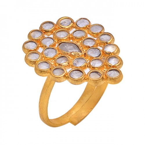 Round Pear Shape Gemstone 925 Sterling Silver Gold Plated Designer Ring Jewelry