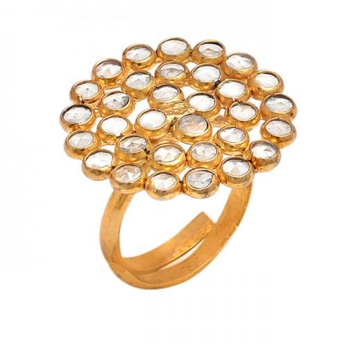 Rose Cutting Round Gemstone 925 Sterling Silver Gold Plated Designer Ring