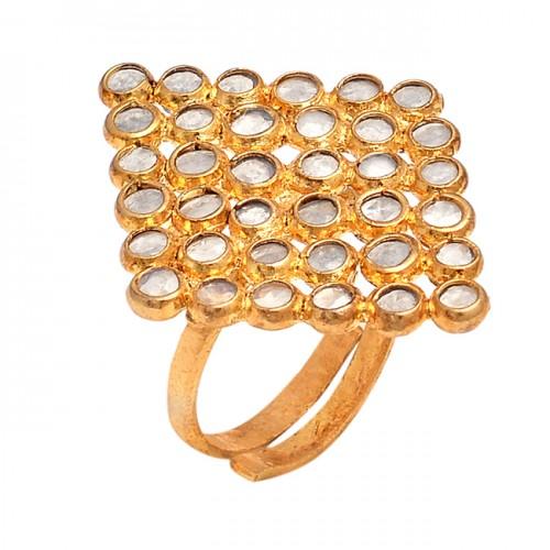 Crystal Quartz Gemstone 925 Sterling Silver Gold Plated Designer Ring Jewelry