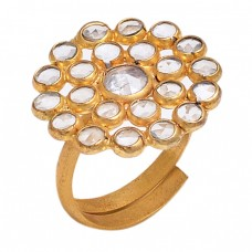 Handcrafted Designer Crystal Quartz Gemstone 925 Silver Gold Plated Ring Jewelry