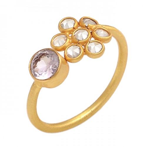 Round Shape Crystal Quartz Cz Gemstone 925 Silver Gold Plated Jewelry Ring
