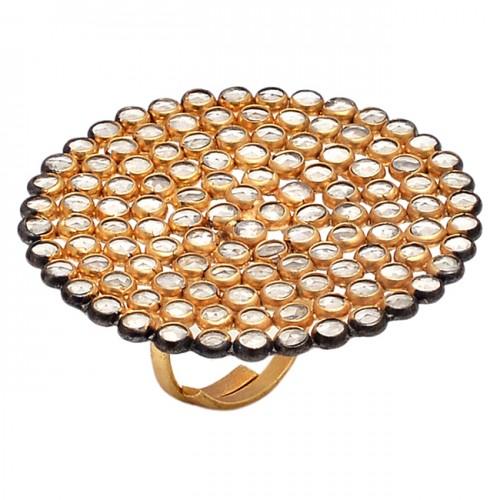 Rose Cutting Round Shape Crystal Quartz Gemstone 925 Silver Gold Plated Ring
