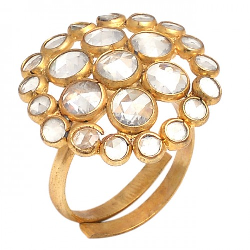 Rose Cutting Round Shape Gemstone 925 Solid Silver Gold Plated Jewelry Ring
